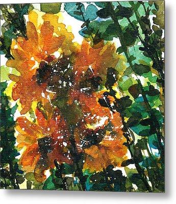Shadows Of Sunflowers Metal Print by Garima Srivastava