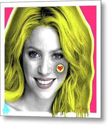 Shakira, Pop Art, Pop Art, Portrait, Contemporary Art On Canvas, Famous Celebrities Metal Print by Dr Eight Love