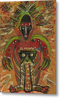 Shaman Says Walk Softly And Carry A Big Schtik Metal Print by Anne-Elizabeth Whiteway