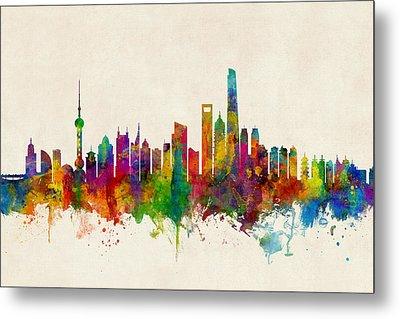 Shanghai China Skyline Metal Print
