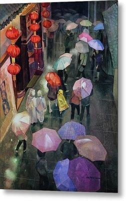 Shanghai Shoppers Metal Print by Kris Parins