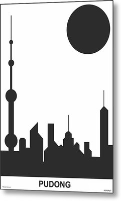 Shanghai Sunshine Black White Metal Print by Asbjorn Lonvig