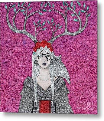 She Wears The Crown Metal Print by Natalie Briney