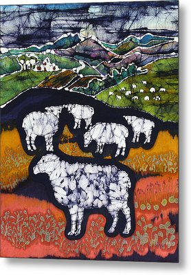 Sheep At Midnight Metal Print by Carol  Law Conklin