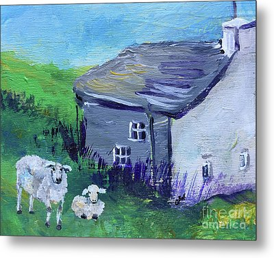 Metal Print featuring the painting Sheep In Scotland  by Claire Bull
