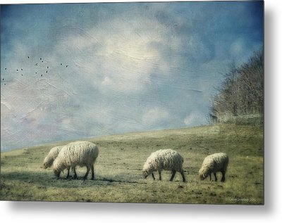Sheep On The Hill Metal Print