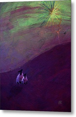 Metal Print featuring the digital art Sheep Watch The Fireworks  by Jean Moore