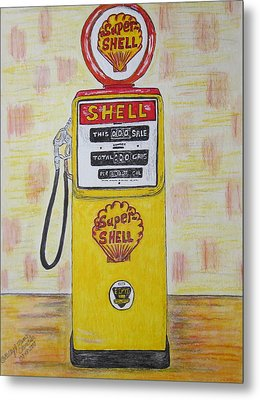 Metal Print featuring the painting Shell Gas Pump by Kathy Marrs Chandler