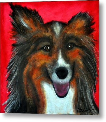 Metal Print featuring the painting Sheltie- Maggie by Laura  Grisham