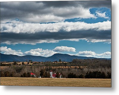 Metal Print featuring the photograph Shenandoah Valley Farm Winter Skies by Lara Ellis