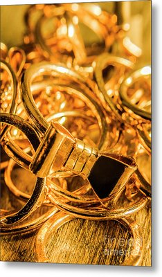 Shiny Gold Rings Metal Print