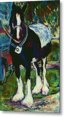 Shire Horse At Abergavenny Rally Metal Print by Judy Adamson
