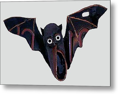 Metal Print featuring the mixed media Shoe Bat by Bill Thomson
