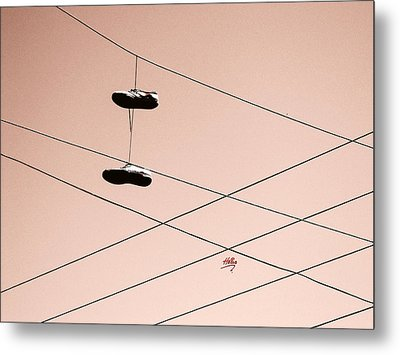 Shoes On A Wire Metal Print by Linda Hollis