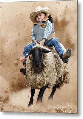 Shoot Low Sheriff They're Riding Sheep Metal Print by Ron  McGinnis