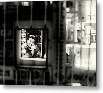Metal Print featuring the photograph Shopkeeper At Night by John Williams