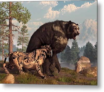 Short-faced Bear And Saber-toothed Cat Metal Print by Daniel Eskridge