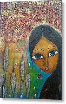 Shower Of Roses Metal Print by Prerna Poojara