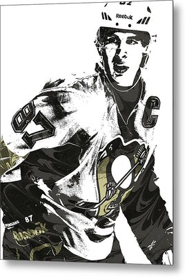 Sidney Crosby Pittsburgh Penguins Pixel Art Metal Print