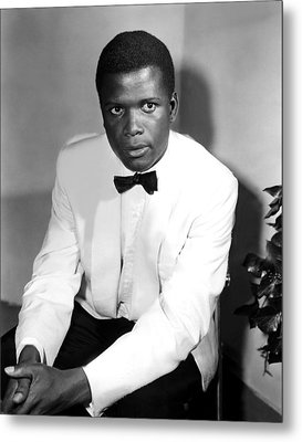 Sidney Poitier, On The Set For The Film Metal Print by Everett