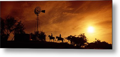 Silhouette Of Two Horse Riders Metal Print by Panoramic Images