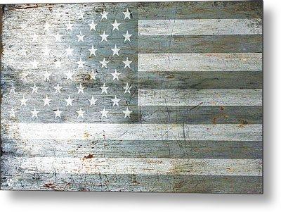 Silver American Flags Metal Print by Tony Rubino