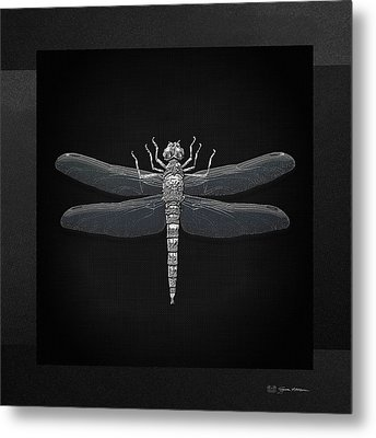 Silver Dragonfly On Black Canvas Metal Print