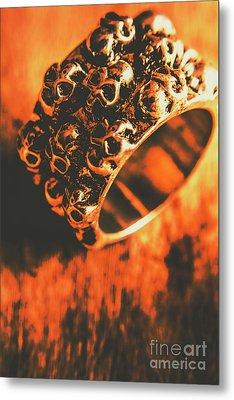 Silver Skulls Pirate Ring Metal Print