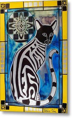 Silver Tabby With Mandala - Cat Art By Dora Hathazi Mendes Metal Print by Dora Hathazi Mendes