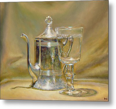 Silver Teapot And Glass Metal Print by Jeffrey Hayes