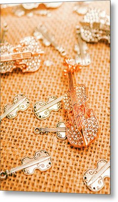 Silver Violin Pendant With Diamonds Metal Print