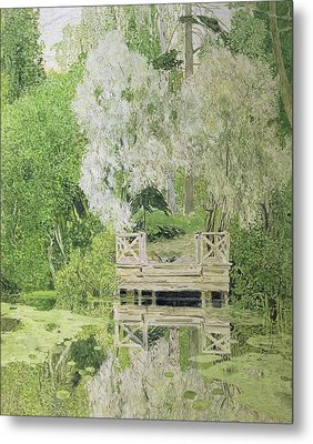Silver White Willow Metal Print