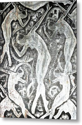 Silver Woman In The Machine Frieze Metal Print