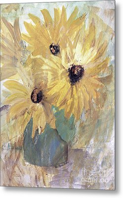 Metal Print featuring the painting Simply Sunflowers  by Robin Maria Pedrero