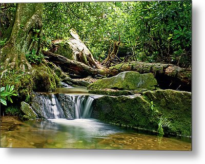 Sims Creek Waterfall Metal Print by Meta Gatschenberger