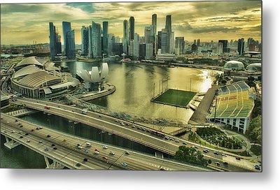 Singapore City On The Move Metal Print by Paul W Sharpe Aka Wizard of Wonders