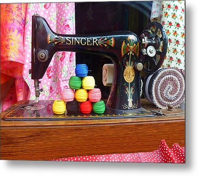 Singer Sowing Metal Print
