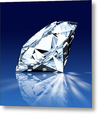 Single Blue Diamond Metal Print