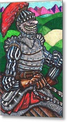 Metal Print featuring the drawing Sir Bols The Black Knight by Al Goldfarb