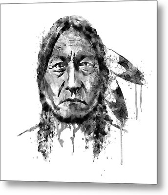 Metal Print featuring the mixed media Sitting Bull Black And White by Marian Voicu