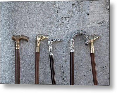 Siver And Bronze Walking Sticks Metal Print