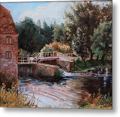 Sixtenth Century Watermill In Sturminster Newton Dorset England Metal Print by Ethel Vrana