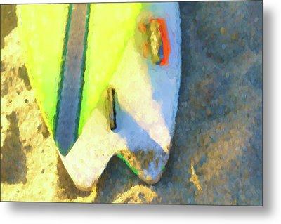 Sixty Nine Surfboard Watercolor Metal Print