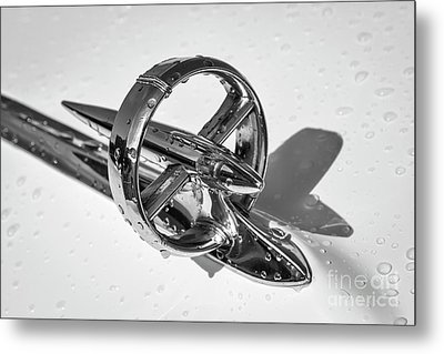 Metal Print featuring the photograph Special Hood Ornament Monotone by Dennis Hedberg