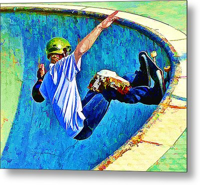 Skateboarding In The Bowl Metal Print by Elaine Plesser