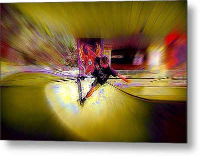 Metal Print featuring the photograph Skateboarding by Lori Seaman