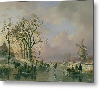 Skating In Holland Metal Print by Andreas Schelfhout