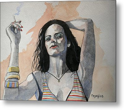 Metal Print featuring the painting Sketch For Lucy by Ray Agius