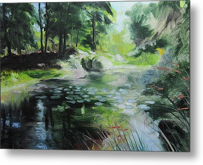 Sketch Of A Pond At Port Meirion Metal Print