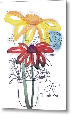 Sketchbook Flowers Thank You- Art By Linda Woods Metal Print